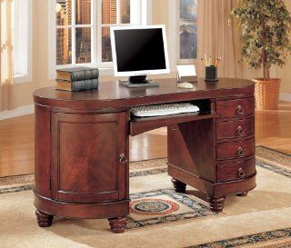 Shop Home Office Kidney Shaped Computer Desk in Deep Brown Cherry Finish by Coaster Furniture at the  Furniture Store. Find the latest styles with the lowest prices from Coaster Home Furnishings
