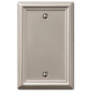 Single Decorative Blank 1 Gang Decora Wall Switch Plate Outlet Cover, Brushed Nickel   Satin Nickel Outlet Cover