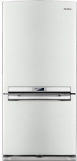 Samsung: RB197ACWP 18.0 cu. ft. Counter Depth Bottom Freezer Refrigerator with 3 Glass Shelves, Twin Cooling System, Temperature Sensor, Power Freeze/Cool Options, Ice Maker and External Digital Display/Control: White Pearl: Appliances