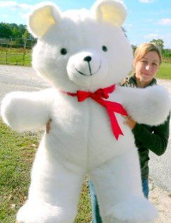 """LIFESIZE TEDDY BEAR 48"""" GIANT HIGH QUALITY SQUEEZABLY SOFT PLUSH STUFFED ANIMAL HUGE   COLOR WHITE   AMERICAN MADE IN THE USA AMERICA Toys & Games"""