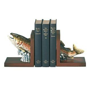 Rainbow Trout Fish Bookends Pair on Wood Bases   Aspen Country Store
