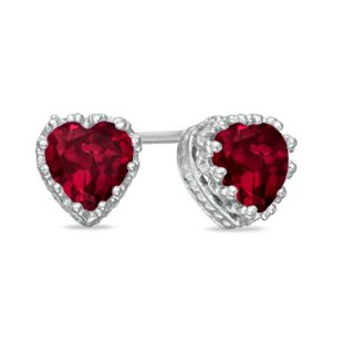 0mm Heart Shaped Lab Created Ruby Crown Earrings in Sterling Silver