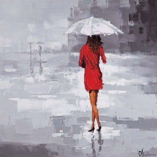 Ren Wil OL805 Red Rain Hand Painted Oil Painting by Olivia Salazar   Paintings For Wall