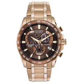 Mens Citizen Eco Drive Perpetual Chronograph AT Watch with Brown Dial