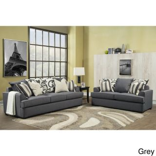 Furniture Of America Bryen Skyler Contemporary Chenille Fabric Sofa And Loveseat Set