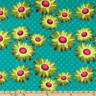 44'' Wide Michael Miller Flora And Fauna Daisy Dots Turquoise By The Yard