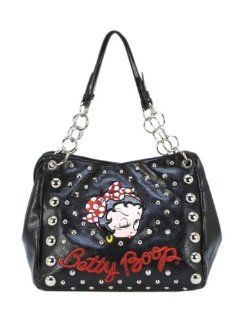 Betty Boop Studded Handbag   BB820 (Black) : Cosmetic Tote Bags : Beauty