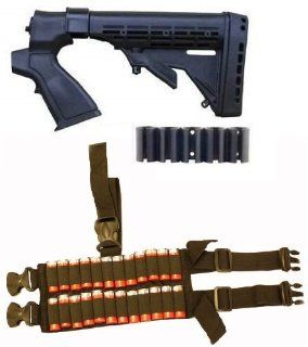 Ultimate Arms Gear Tactical Mossberg 500 / 590 / 835 12 Gauge Shotgun Black Stock Buttstock + Rear Pistol Grip + Recoil Butt Pad + Sling Swivel Stud + 24 Shot Shell Ammo Reload Carrier Thigh Dropleg For Shotgun Rounds Stealth Black Ambidextrous Dual Drop L