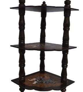 Indian Hand Painted Corner Table Home Decorative Metal Three tier Stand   End Tables