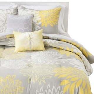 Anya Floral 5 Piece Comforter Set   Gray/Yellow (Queen)