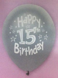 Happy 15th Birthday Balloons (8 Count)   assorted colors: Health & Personal Care