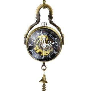 Orkina Vintage Design Copper Color Hand Wind Mechanical Skeleton Black Dial Classical Pocket Watch WK892 RB: Orkina: Watches