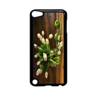 Rikki KnightTM White Tulips In Glass Vase On Rustic Wood With Green Apples Design iPod Touch Black 5th Generation Hard Shell Case Computers & Accessories