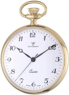 Catorex Men's 871.6.1815.120 Les Breuleux 18k Gold Plated Brass White Quartz Pocket Watch at  Men's Watch store.