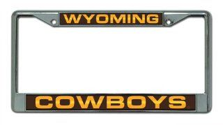 Wyoming Cowboys Chrome License Plate Frame  Sports Fan Automotive Flags  Sports & Outdoors