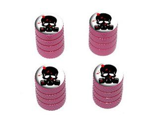 Zombie Outbreak Response Team   Blood   Skull Gas Mask   Tire Rim Wheel Valve Stem Caps   Pink Automotive