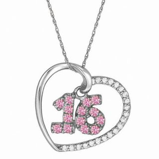 Sterling Silver Sweet 16 Heart Birthstone Pendant with Cubic Zirconia