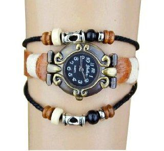 Women Ladies Retro Case Leather Belt Double String of Beads Fashion Bracelet Watch at  Women's Watch store.