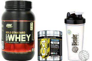 Bundle   3 Items   Beginners Workout Supplement Stack   Optimum Nutrition 100% Whey Protein Gold Standard Double Rich Chocolate 2 Pounds (909 g), Cellucor C4 Extreme Pre Workout Ice Blue Razz 60 Servings (342 g), BlenderBottle Classic 28 oz with BlenderBal