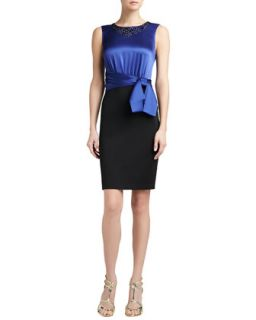 Womens Sateen Milano Knit Dress with Sequined Liquid Satin Bodice and Sash Bow