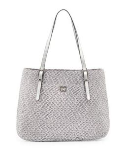 Squishee Jav II Metallic Tote Bag, Gray   Eric Javits