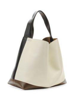 Tricolor Leather Hobo Bag, Nude/Dark Gray   Marni