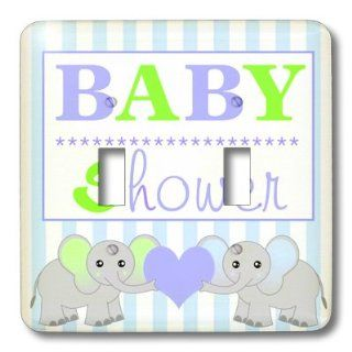 3dRose lsp_57086_2 Baby Shower Cute Twin Elephants Green and Blue Double Toggle Switch   Switch Plates
