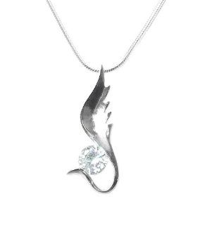 925 Sterling Silver Plated Guardian Angel Wing Necklace: Jewelry