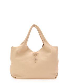 Canotta Soft Leather Hobo Bag, Beige   Henry Beguelin
