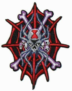 Black Widow Spider Crossbones Iron On Biker Patch: Everything Else