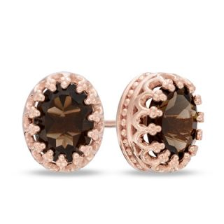 Oval Smoky Quartz Crown Earrings in Sterling Silver with 14K Rose Gold