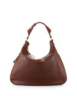 Jennifer Leather Hobo Bag, Brown   Tom Ford