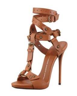 Ankle Wrap T Strap Leather High Heel Sandal, Tan   Giuseppe Zanotti