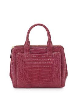 Medium Crocodile Zip Tote Bag, Raspberry   Nancy Gonzalez