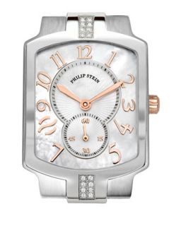 Small Classic Sport Square Stainless Steel/Rose Gold Diamond Watch Head