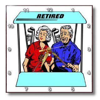 dpp_46607_1 Florene Humor   Cute Cartoon Couple In Golf Cart n Word Retired   Wall Clocks   10x10 Wall Clock