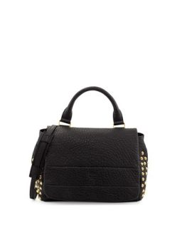 Keana Studded Lambskin Satchel Bag, Black   MCM