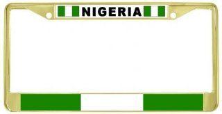 Nigeria Nigerian Flag Gold Tone Metal License Plate Frame Holder Automotive