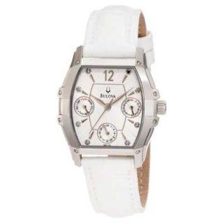 Ladies Bulova Wintermoor Watch with Tonneau White Dial (Model: 96P126