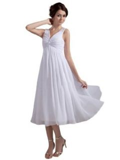Remedios Boutique V Neck Chiffon Empire Tea Length Bride Reception Wedding Dress at  Women�s Clothing store: