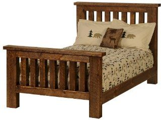 Vintage Circle Sawn Pine Queen Bed Faux Barnwood Styling