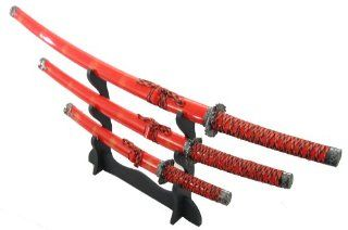 4pc Japanese Ninja Samurai Katana Sword Set  Martial Arts Swords  Sports & Outdoors