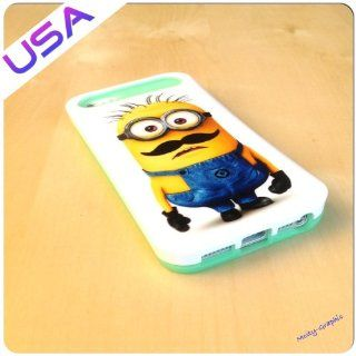 Custom Design Iphone 5 IGLOW Case @ Minions Despicable Me 2 Mustache Heavy duty Iphone 5 Cover   Light Blue: Everything Else