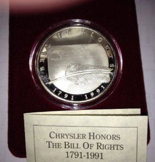 1791 1991 Bill of Rights Commemorative Coin minted from one troy ounce of .999 Fine Silver   This limited edition medallion was commissioned by the Chrysler Corporation to commemorate the 200th anniversary of the Bill of Rights of the United States. The co