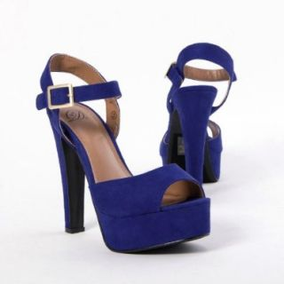 My Delicious Women's RIMOSE Open Toe Ankle Strap Platform High Heel Sandal, BLUE Faux Suede, 7.5 M US: Shoes