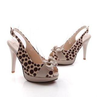 Charm Foot Fashion Bows Womens Platform High Heel Pumps Peep Toe Sandals: Shoes