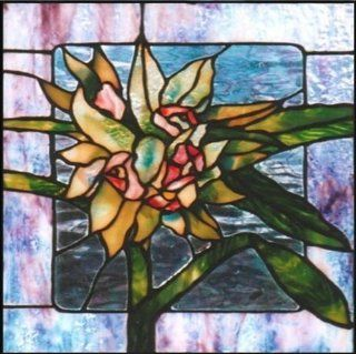 Lily Flower with Green Leaves   Etched Vinyl Stained Glass Film, Static Cling Window Decal   Stained Glass Window Panels