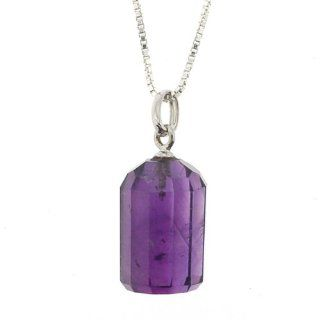 """AAA"" Quality Natural Amethyst Pendant   Faceted   10 Sided Cylinder Shape with Sterling Silver Bail and 16"" long Box Chain (Approx 15mm x 9mm): Jewelry"