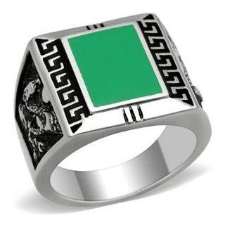 Size 9 Square Shaped Emerald Epoxy Men's Stainless Steel Ring: AM: Jewelry