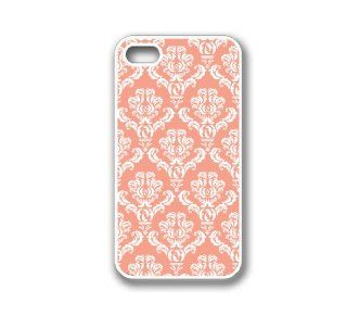 iPhone 4 Case White Silicone Case Protective iPhone 4/4s Case Coral Damask: Cell Phones & Accessories